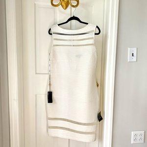 Tadashi Shoji Cutout Knee Length Dress in white/cream Size PXL